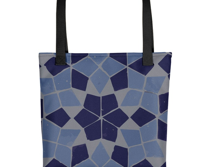 Tote bag moroccan style pattern blue