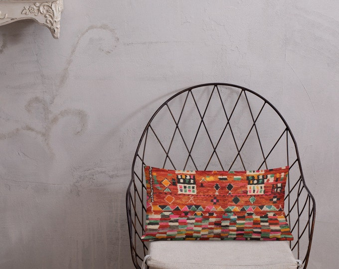Moroccan Pillow red berber pattern inspiration bohemian and vintage