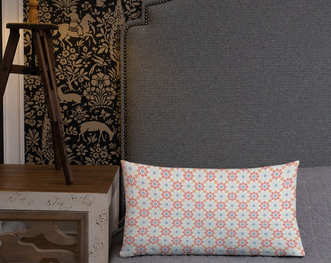 Premium Moroccan Pillow style with pink flower patterns
