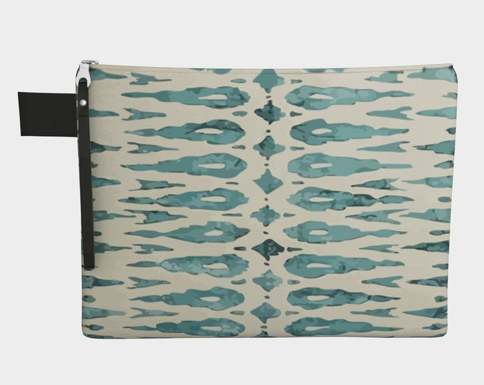 Blue bohemian zipper carry all purse vintage style