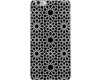 Black and white moroccan patterns iPhone Case