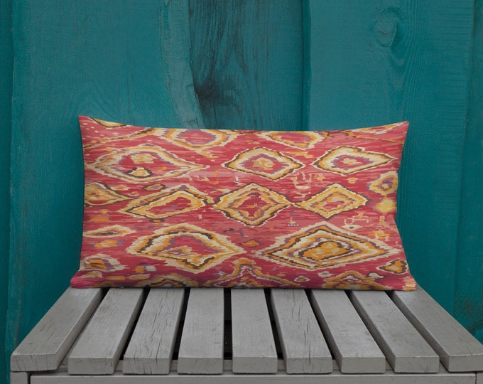 Morocco Pillow red and yellow berber inspiration pattern vintage and bohemian