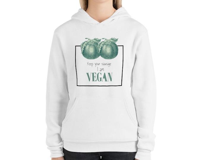 Vegan funny quote no sausage Unisex hoodie