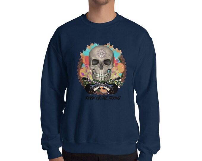 rock and roll skull music Sweatshirt