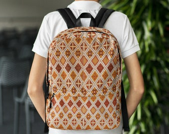 Backpack moroccan and berber style pattern brown and beige color