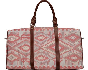 Ethnic red travel bag with Moroccan pattern boho style