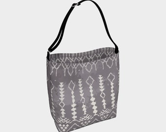 Grey Bohemian tote bag Moroccan and berber inspired