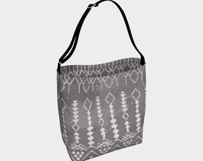 Grey Bohemian tote bag Moroccan and berber inspired