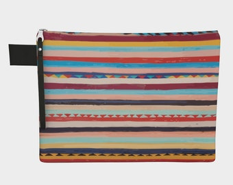 Bohemian berber pattern zipper carry-all vintage colors