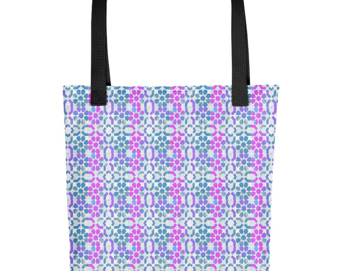 Tote bag Moroccan style pattern pink and blue