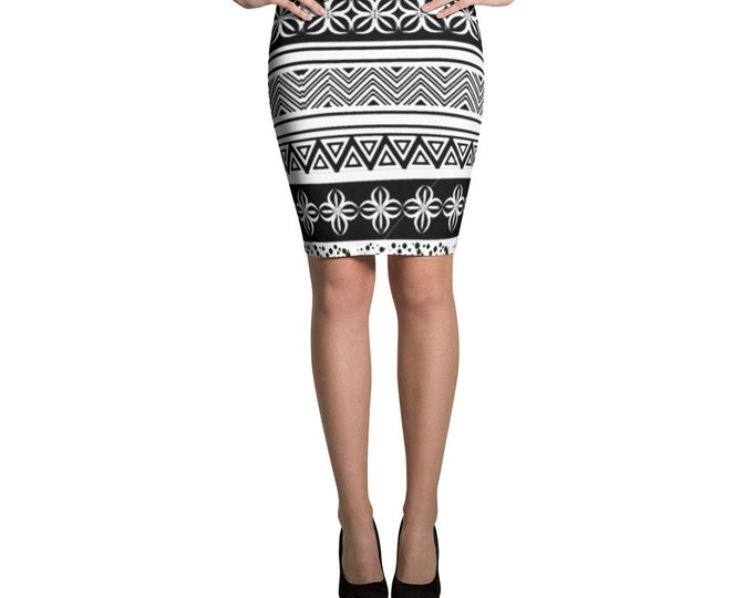 Black and white Pencil Skirt with moroccan style pattern