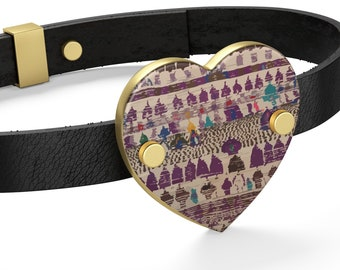 Leather Bracelet purple Moroccan and Berber patterns