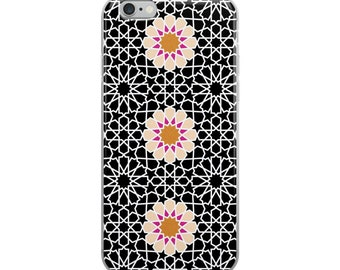 black iPhone Case with pink flowers and moroccan pattern