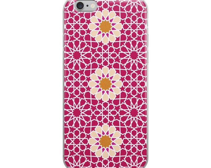 Pink iPhone Case with pink flowers and moroccan style pattern