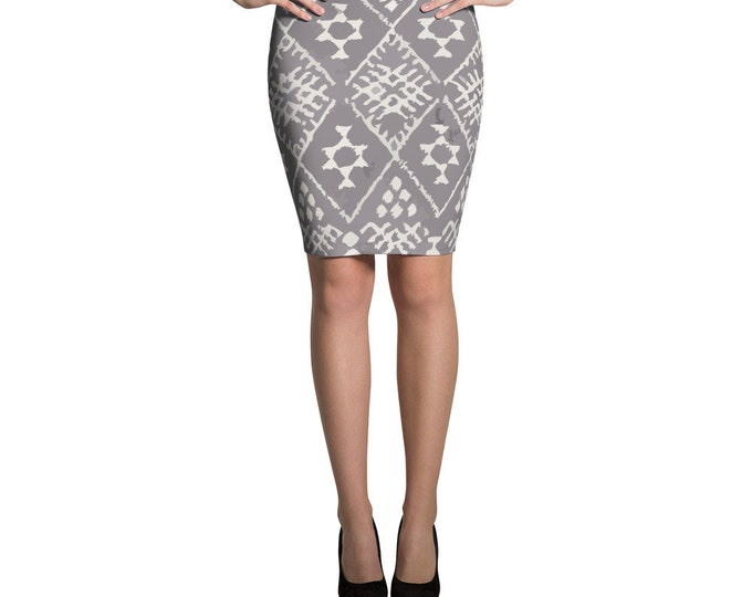 Grey Pencil Skirt with moroccan berber pattern