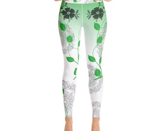 Green and white Yoga Leggings with flower and mandala