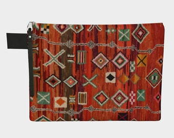 Moroccan red pattern bohemian and vintage zipper carry-all