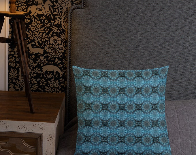 Premium Moroccan Pillow pattern style blue