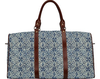 Ethnic travel bag with Moroccan blue pattern boho style