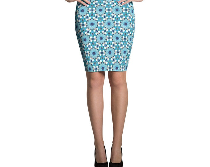 Blue pattern Pencil Skirt with moroccan style pattern