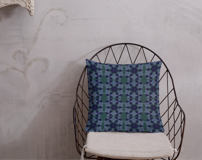 Premium Moroccan Pillow green and blue pattern