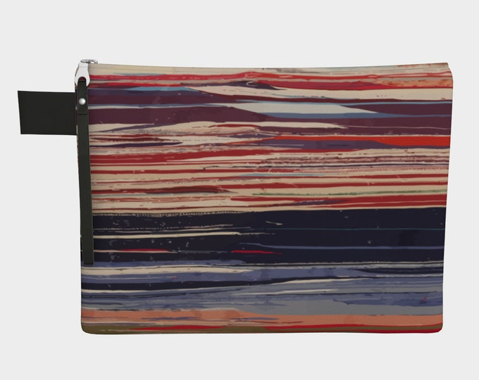 Colorful vintage zipper carry all red and blue bohemian style