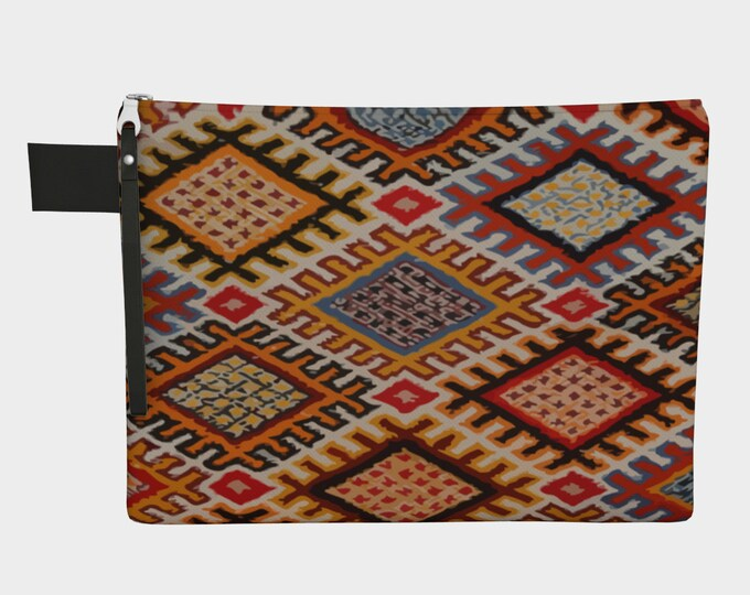 Bohemian zipper carry-all vintage with berber pattern