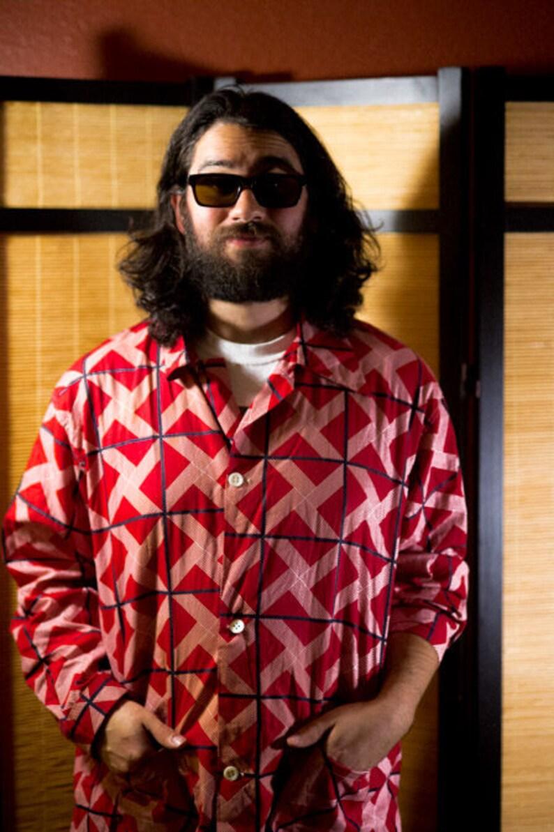 cabf8cf49f13b Mens Red Long Sleeve Top With Geometric Patterns, Red White Black Geometric  Pattern Shirt, 90s Printed Geometric Shirt, Vintage Mens Shirt