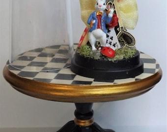 Miniature 1:12th Scale. Dolls House. Diorama Dome. Alice In Wonderland. White Rabbit