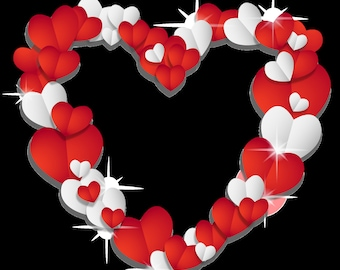Hearts Digital Download Print Image Valentines Day Red White