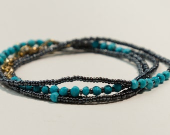 Turquoise and Seed Bead Wrap Bracelet