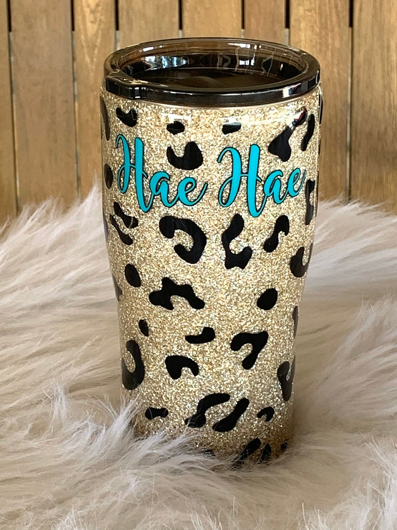 Leopard glitter tumbler Cheetah print tumbler Custom Glitter tumbler Leopard glitter cup Glitter tumbler