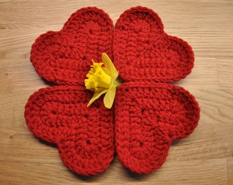 Crochet heart coasters Valentines Day Gift