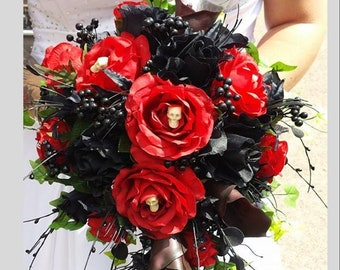 Tulle /& Lace Flowers Brides Vintage Wedding Gothic Goth Alternative Halloween Posy Ready Made Black Peony Flower Bouquet