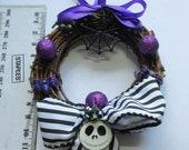Nightmare Before Christmas inspired mini Wreath- Halloween/Xmas decoration- Jack Skellington -Christmas- Goth- Gothic