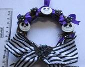 Nightmare Before Christmas inspired mini Wreath - Halloween / Xmas decoration. Goth/ Gothic/ Ornament