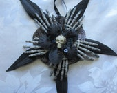 Gothic Xmas tree/ Halloween tree decoration. Skull, Skeleton hands hanging ornament. (can be made into a fascinator)