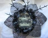 3-D Skull Halloween / Xmas/ Gothic tree ornament. Hanging decoration.