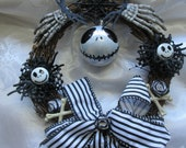 Nightmare Before Christmas inspired  Wreath - Halloween / Xmas decoration. Goth/ Gothic/ Ornament