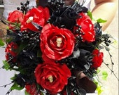 Gothic Bride Bouquet /wedding flowers custom made to your designs Photos are examples! They're custom made. Message me to discuss your ideas