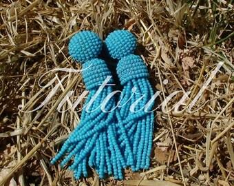 Beaded tassel earrings tutorial Beading Pattern Earrings beading tutorials tassel oscar de la renta earrings Oscar Tassel Earrings Pattern