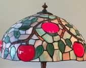 Beautiful Stained Glass Lampshade and Lamp, Apple Themed