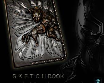 Black panther sketchbook, notebook panther, gift notebook, notebook marvel