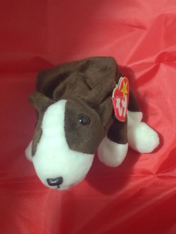 49a7db6b29a Retired 1997 Bruno brown and white dog Ty Beanie Baby with