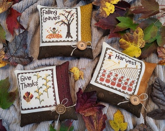 Autumn Triplets Pattern Bundle - All 3 Downloadable PDF patterns in 1! Harvest, Give Thanks, and Falling Leaves
