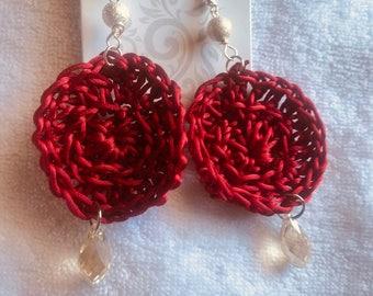 crochet earring dangle with glass bead