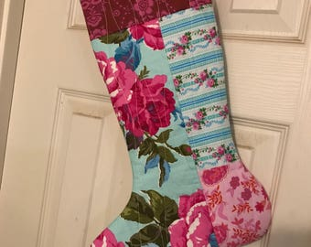 Quilted christmas stocking, christmas stocking, stocking, girly stocking, floral stocking
