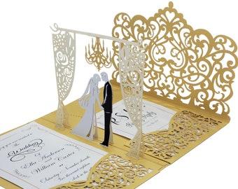 Wedding Invitation Set, 3d Pop up Laser Cut Invite With Custom Print Invitations & RSVP Cards+Envelopes + Return Address Labels.Handmade