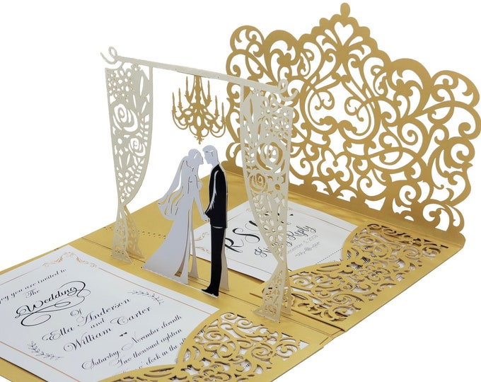 Featured listing image: Wedding Invitation 3d, Pop up wedding Invitations. Laser Cut Wedding Invites. 3d wedding invitations. Fancy foil Envelope liners Included
