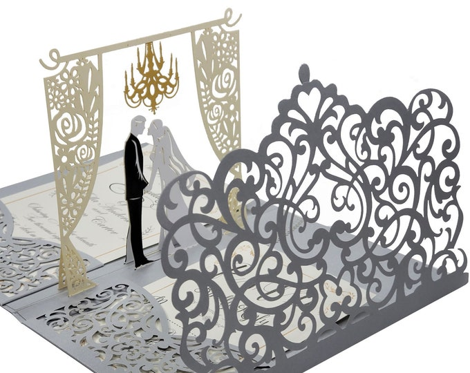 Featured listing image: Wedding Invitation 3d , Pop up wedding Invitations. Laser Cut Wedding Invites. Blank DYI Invite,RSVP Size Card stocks and Envelopes Included